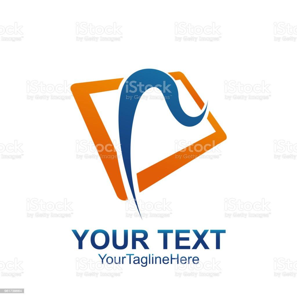 Anfangsbuchstabe R Logo Vorlage Farbig Blau Orange Quadrat Swoosh ...