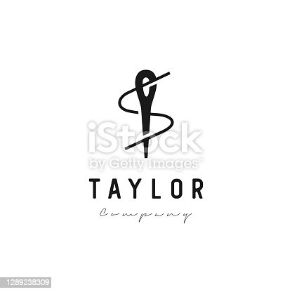 istock Initial letter S with Sewing needle icon 1289238309