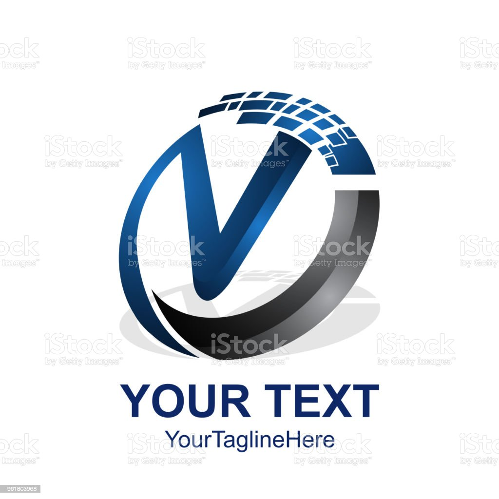 initial letter v logo template colored blue dark grey pixel circle