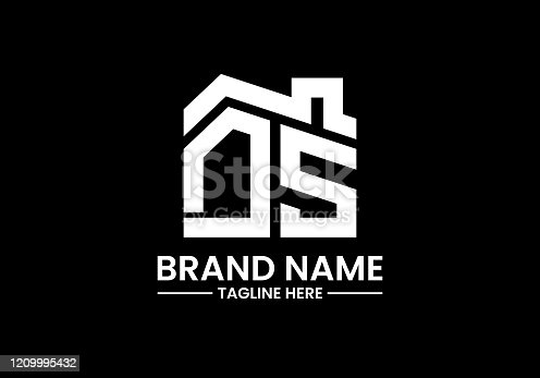 istock Initial Letter with the roof. Real estate logo design concept. 1209995432