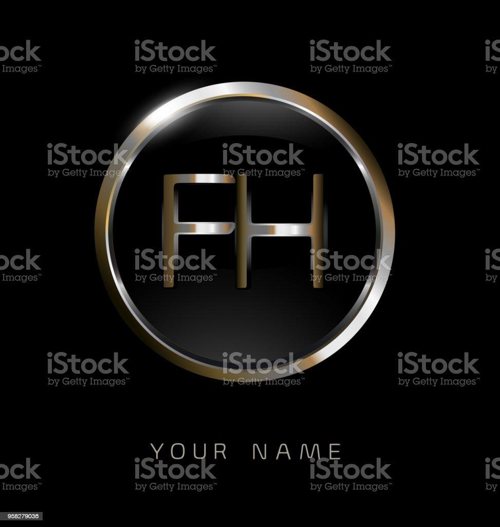 Daire Zarif Logosu Altın Gümüş Siyah Arka Plan Ile Fh Başlangıç