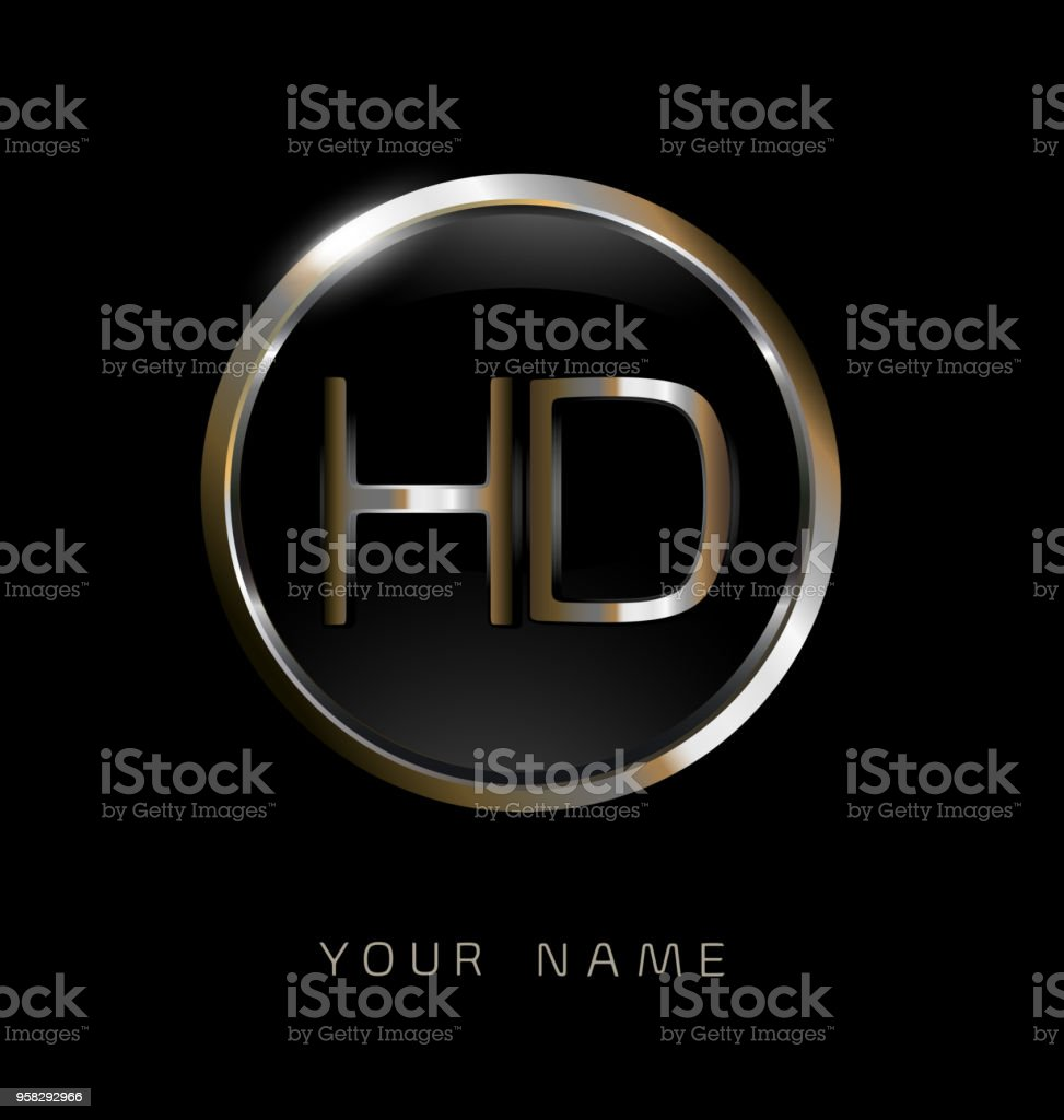 Hd Initial Letters With Circle Elegant Logo Golden Silver