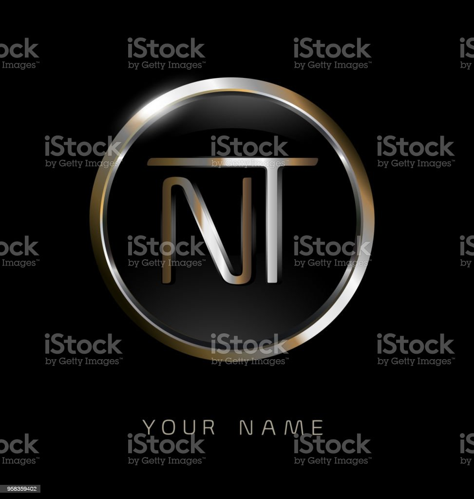 Nt Initial Letters With Circle Elegant Logo Golden Silver Black