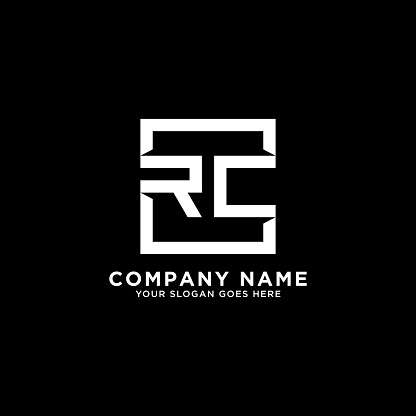RC initial logo inspiration,clean square logo template
