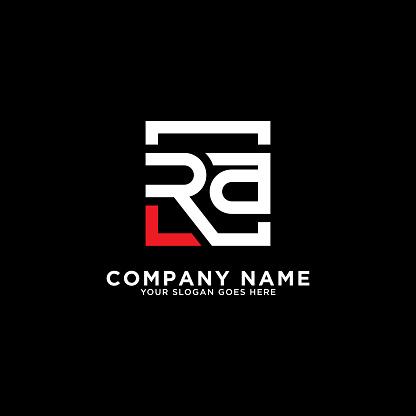 RA initial logo inspiration,clean square logo template