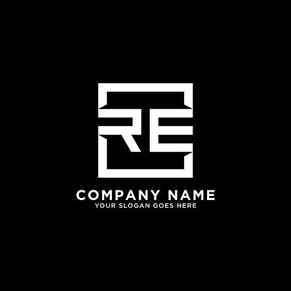 RE initial logo inspiration,clean square logo template