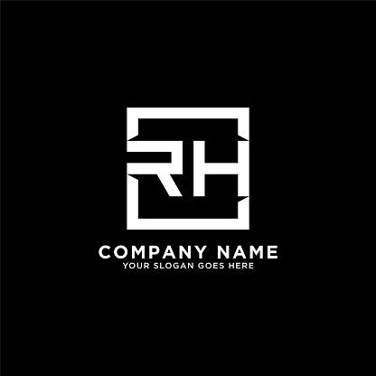 RH initial logo inspiration,clean square logo template