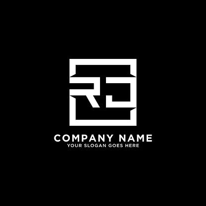 RJ initial logo inspiration,clean square logo template