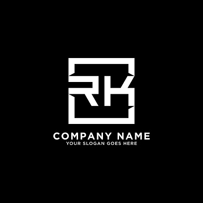 RK initial logo inspiration,clean square logo template