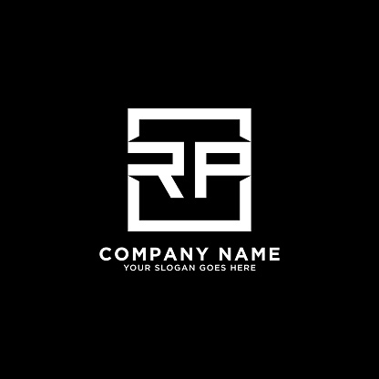 RP initial logo inspiration,clean square logo template