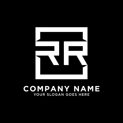 RR initial logo inspiration,clean square logo template