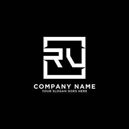 RV initial logo inspiration,clean square logo template