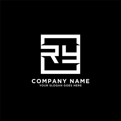 RY initial logo inspiration,clean square logo template