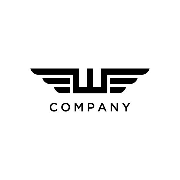 Initial / Monogram W with Wings design inspiration image description w logo stock illustrations