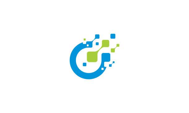 initial o digital technology logo icon vector - alphabet icons stock illustrations