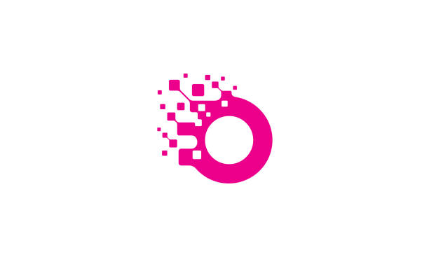 illustrations, cliparts, dessins animés et icônes de technologie du vecteur d'icône du logo o initiale - création numérique