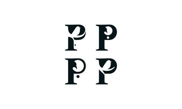 stockillustraties, clipart, cartoons en iconen met eerste p vogel logo pictogram vector - letter p