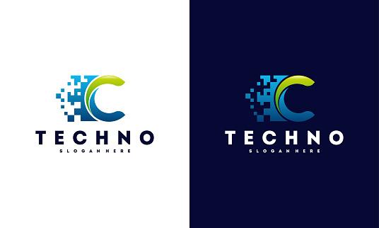 C Initial Pixel Technology logo template vector