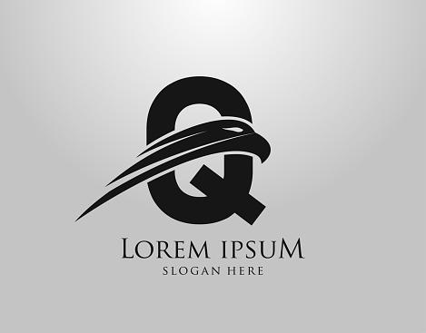 Initial Q Letter Eagle Logo Icon with Creative Eagle Head Vector Illustration Design.