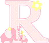 initial r with cute elephant and little baby elephant isolated on white. can be used for mother's day card, baby girl birth announcements, nursery decoration, party theme or birthday invitation