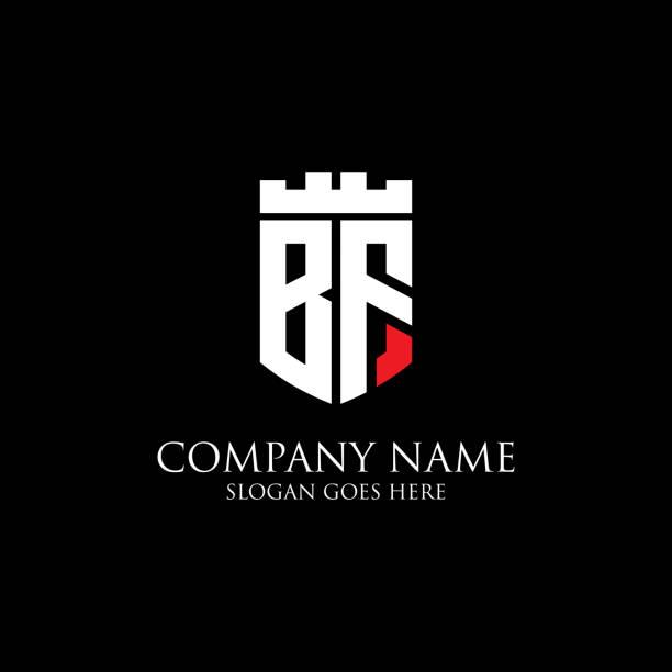 Logo initial DE bouclier BF Inspiration, modèle de logo royal de couronne - facile à utiliser pour votre logo - Illustration vectorielle