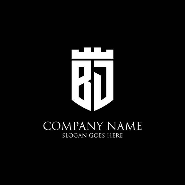 BJ logo bouclier initial design Inspiration, modèle de logo royal couronne - facile à utiliser pour votre logo - Illustration vectorielle