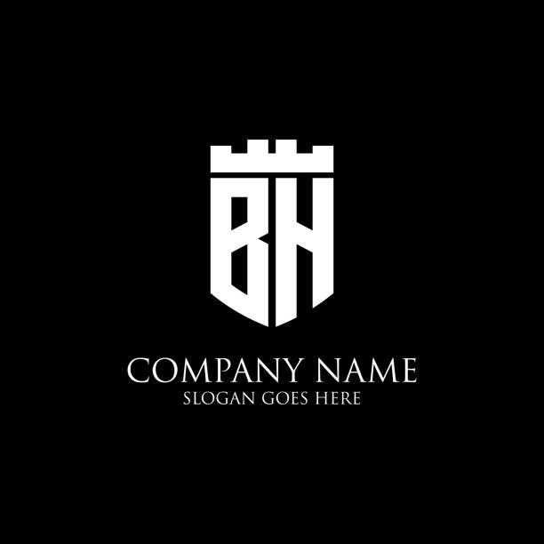 BH logo bouclier initial design Inspiration, modèle de logo royal couronne - facile à utiliser pour votre logo - Illustration vectorielle