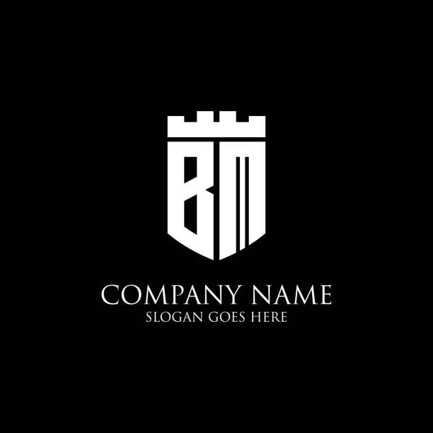 BM logo bouclier initial design Inspiration, modèle de logo royal couronne - facile à utiliser pour votre logo - Illustration vectorielle