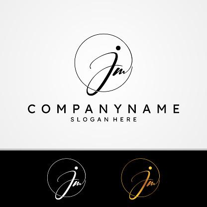 J M JM initial symbol signature vector design with different color