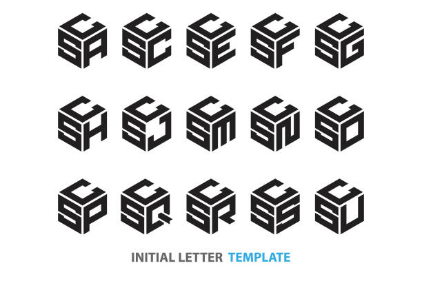 initial three-letter hexagon a collection of fifteen different kinds of initial three-letter hexagon in a modern black style letter l stock illustrations