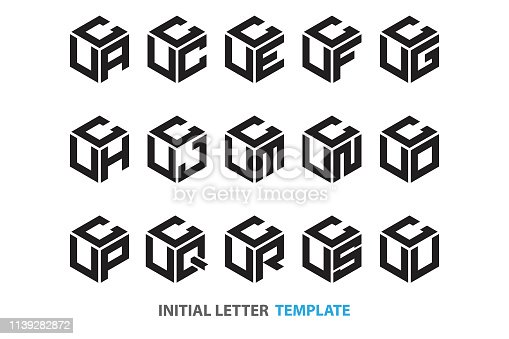 a collection of fifteen different kinds of initial three-letter hexagon in a modern black style