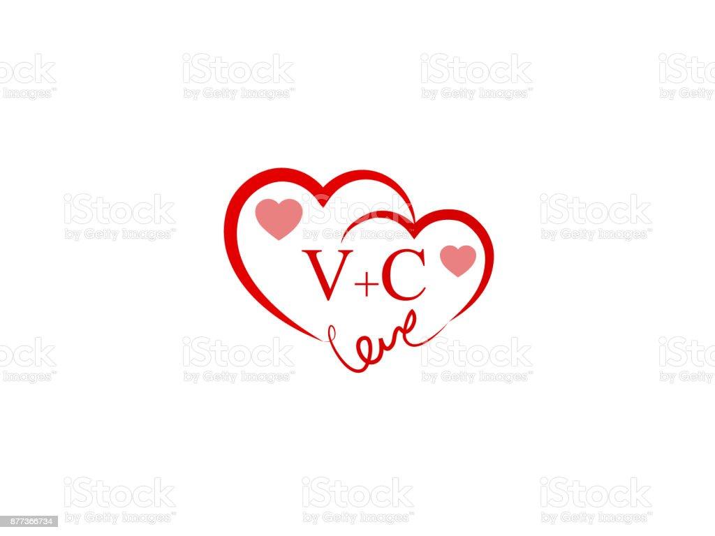 Vc Erste Hochzeitseinladung Liebe Icon Vorlage Vektor Vektor ...