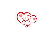 XV Initial wedding invitation, love icon template vector