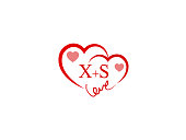 XS Initial wedding invitation, love icon template vector