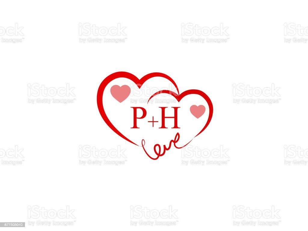 Ph Initial Wedding Invitation Love Template Vector Stock