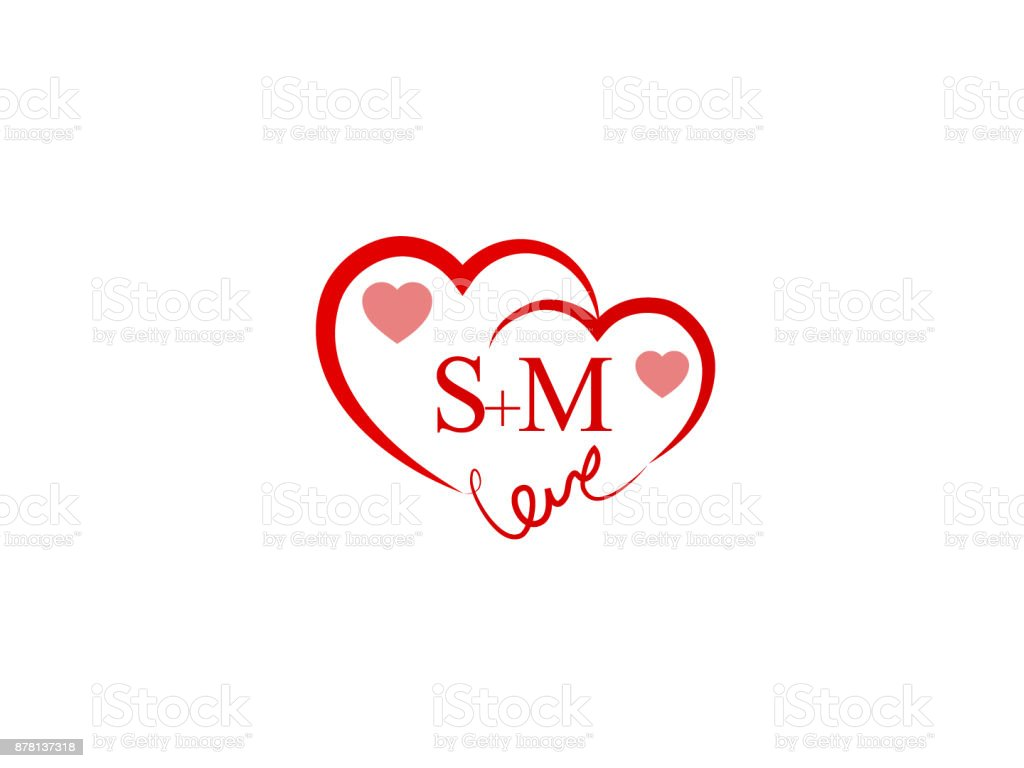 Sm Initial Wedding Invitation Love Template Vector Stock