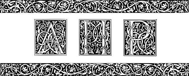 Initials and ornamental border Initials and ornamental border in medieval style alphabet borders stock illustrations