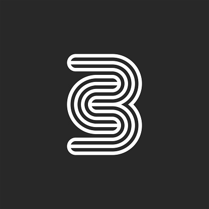 Initials CB or BC letters logo monogram black and white thin lines, minimal creative c3 emblem, two letters C and B together mark combination