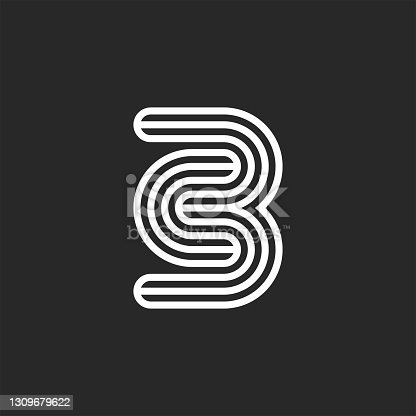 istock Initials CB or BC letters logo monogram black and white thin lines, minimal creative c3 emblem, two letters C and B together mark combination 1309679622