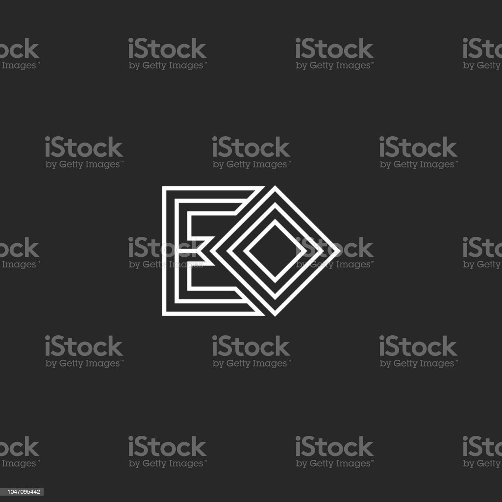 Initials letters EO or OE monogram logo minimal style lines art,...