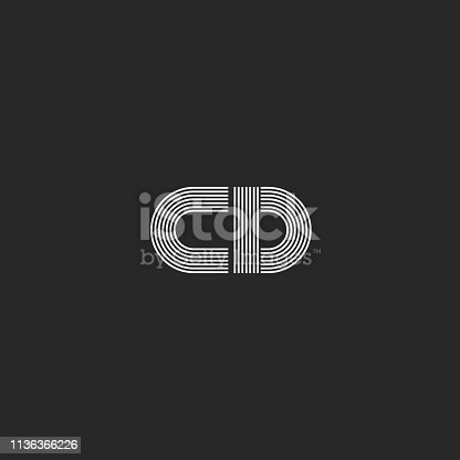 Initials monogram CD logo combination two capital letters C and D minimalist style mark emblem, thin lines geometric shapes