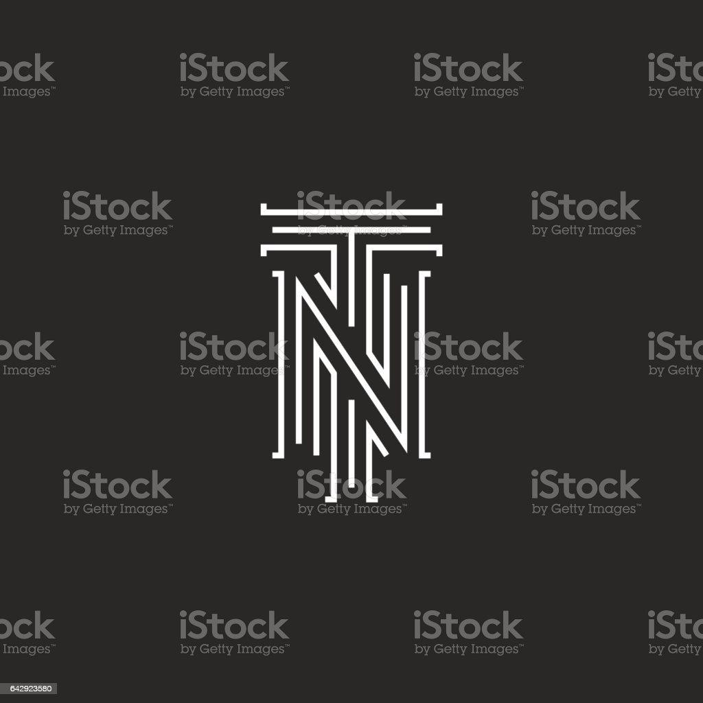 Initials NT letters logo, hipster monogram boutique emblem vector art illustration