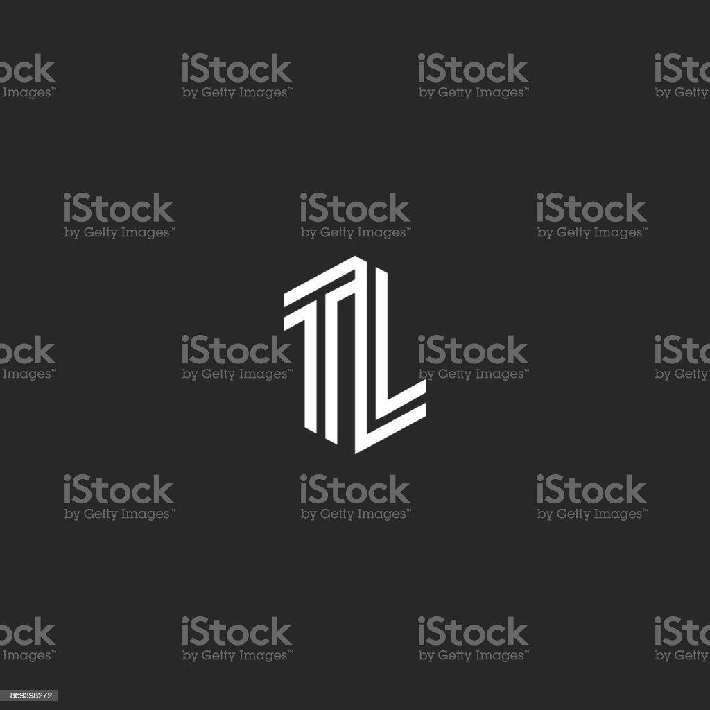 Initialen TL Briefe, Kombination zwei Großbuchstaben T und L-Hochzeits-Emblem LT Monogramm, isometrische parallelen Linien – Vektorgrafik