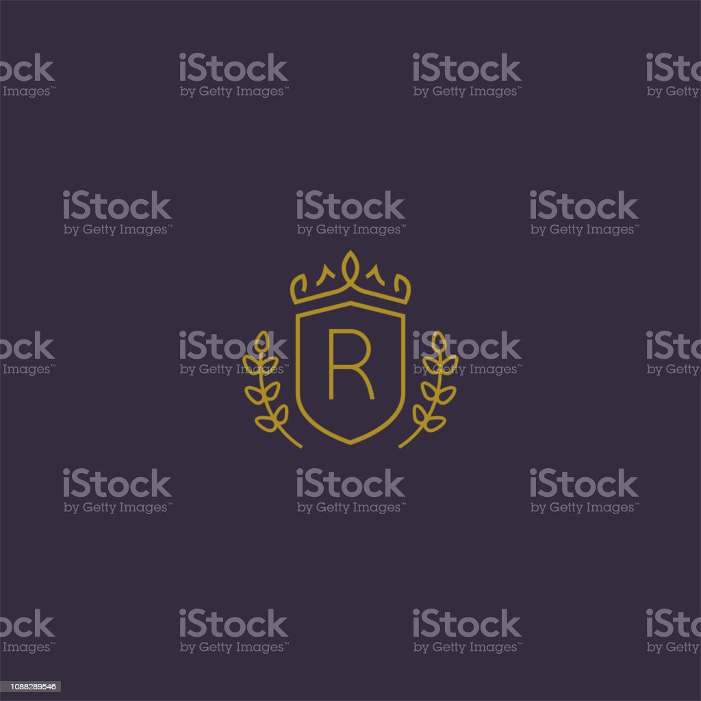 Initials Type Letter R Elegant Luxury Brand Identity Badge Template Shield Crown Wheat