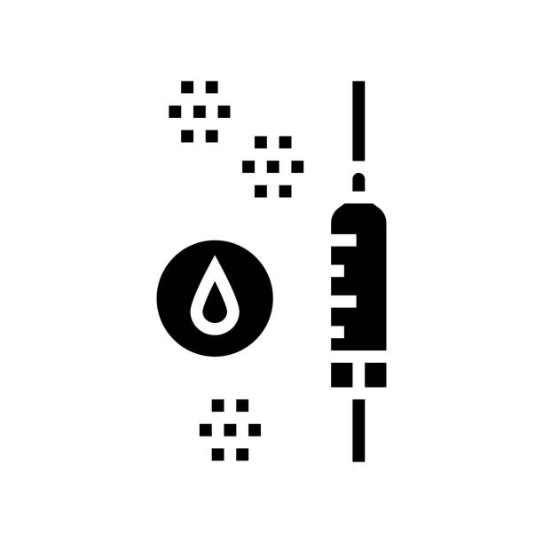 injection anesthesia glyph icon vector illustration injection anesthesia glyph icon vector. injection anesthesia sign. isolated contour symbol black illustration streptococcus mutans stock illustrations