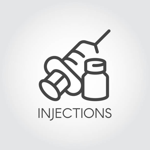 injection icon. contour syringe sign with needle and medication. medical symbol, vaccination, treatment concept - vaccine stock illustrations