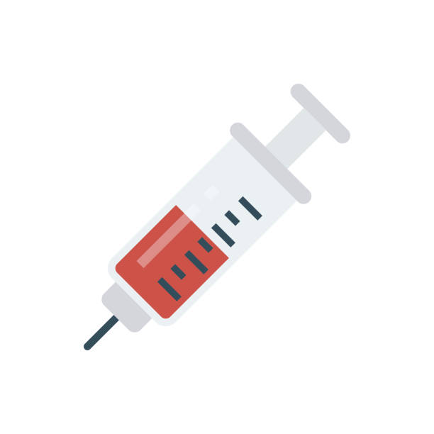 illustrazioni stock, clip art, cartoni animati e icone di tendenza di vaccino per siringhe per iniezione - ago