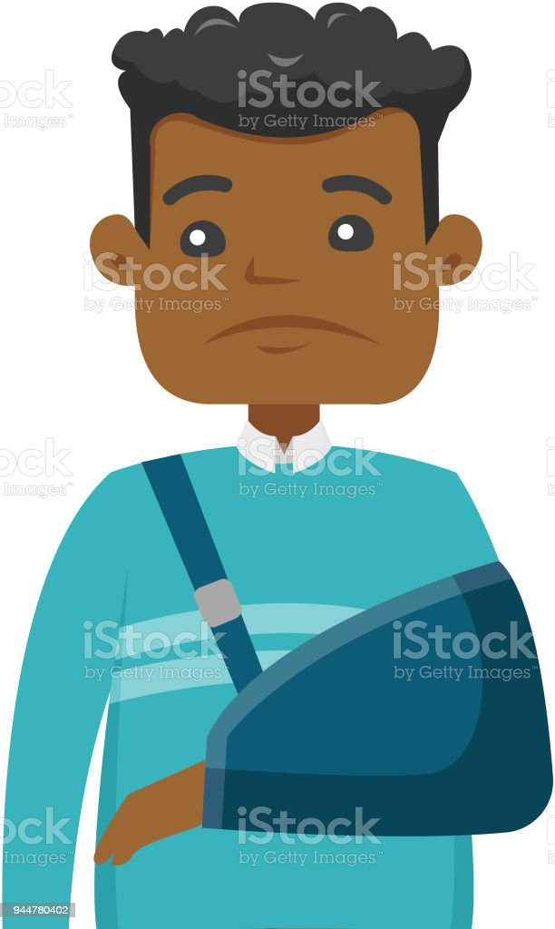 Injured african-american man with broken arm vector art illustration