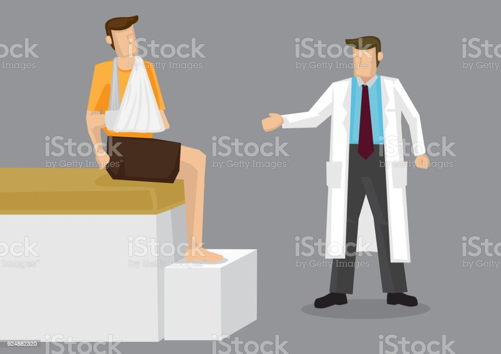 Injured Arm Doctor Consultation Cartoon Vector Illustration vector art illustration