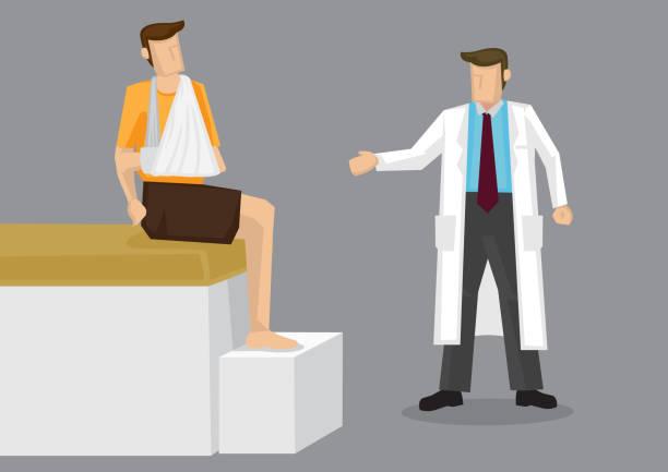 Injured Arm Doctor Consultation Cartoon Vector Illustration vector art illustration